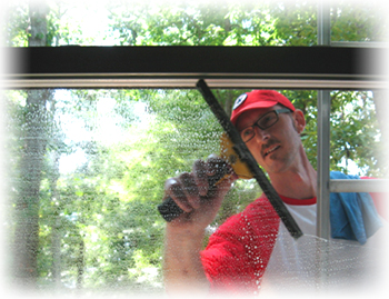 Thad cleaning windows